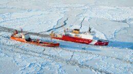 Photo courtesy of United State Coast Guard / The U.S. Coast Guard Cutter Healy breaks ice around Renda, a Russian-flagged tanker, 250 miles south of Nome, Alaska